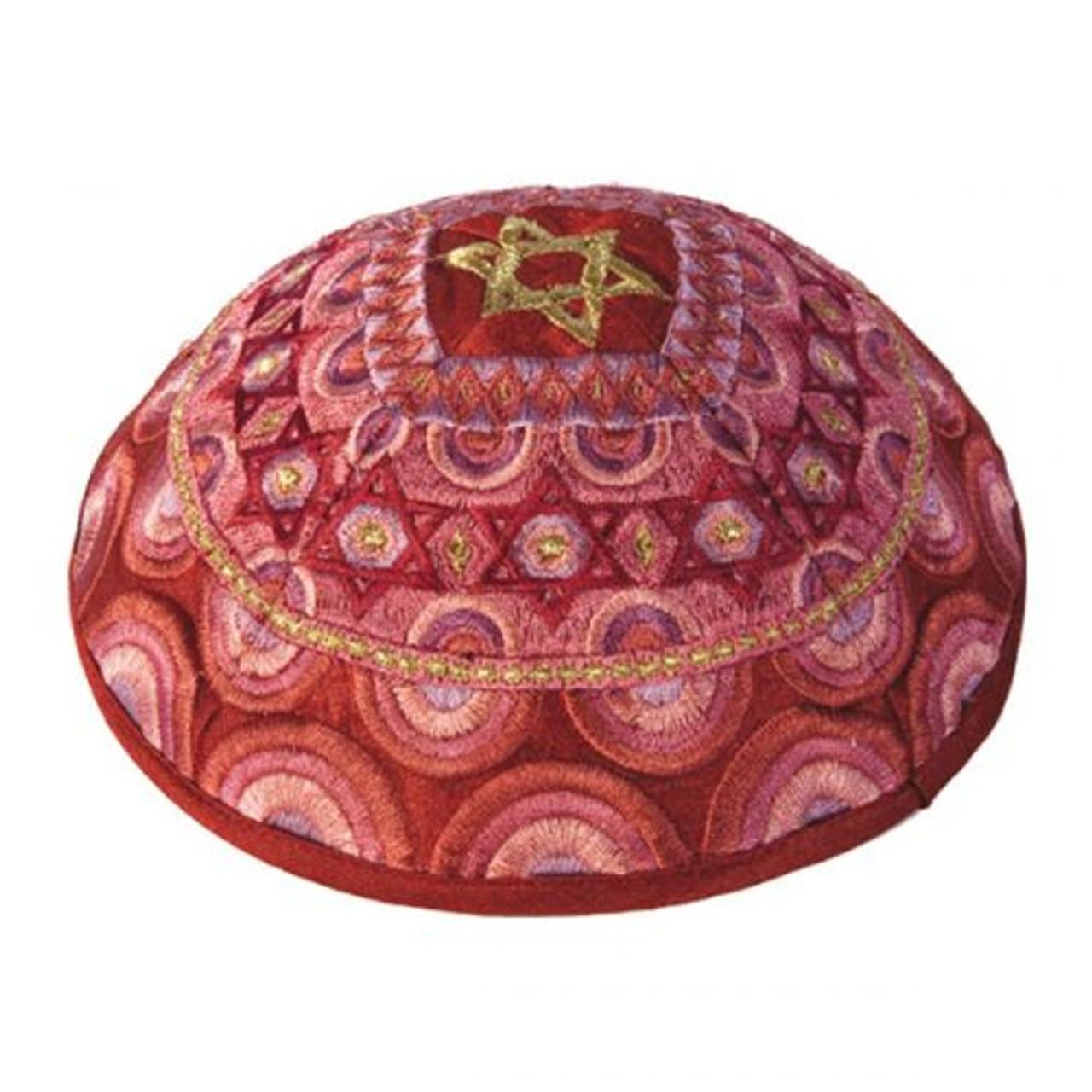 Magen David Red & Gold Embroidered Kippah