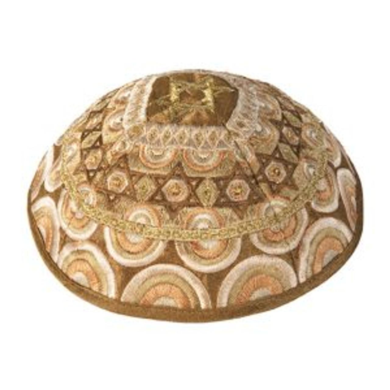 Magen David Brown & Gold Embroidered Kippah