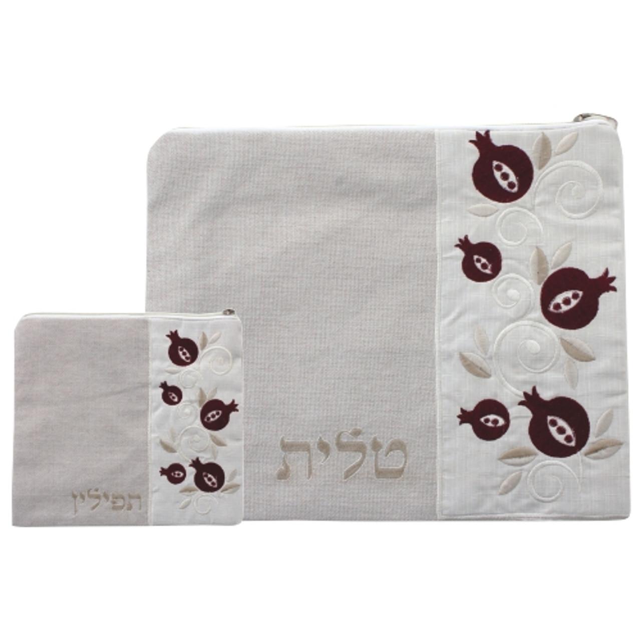 Beaver Brown Linen Tallit Bag with Pomegranates