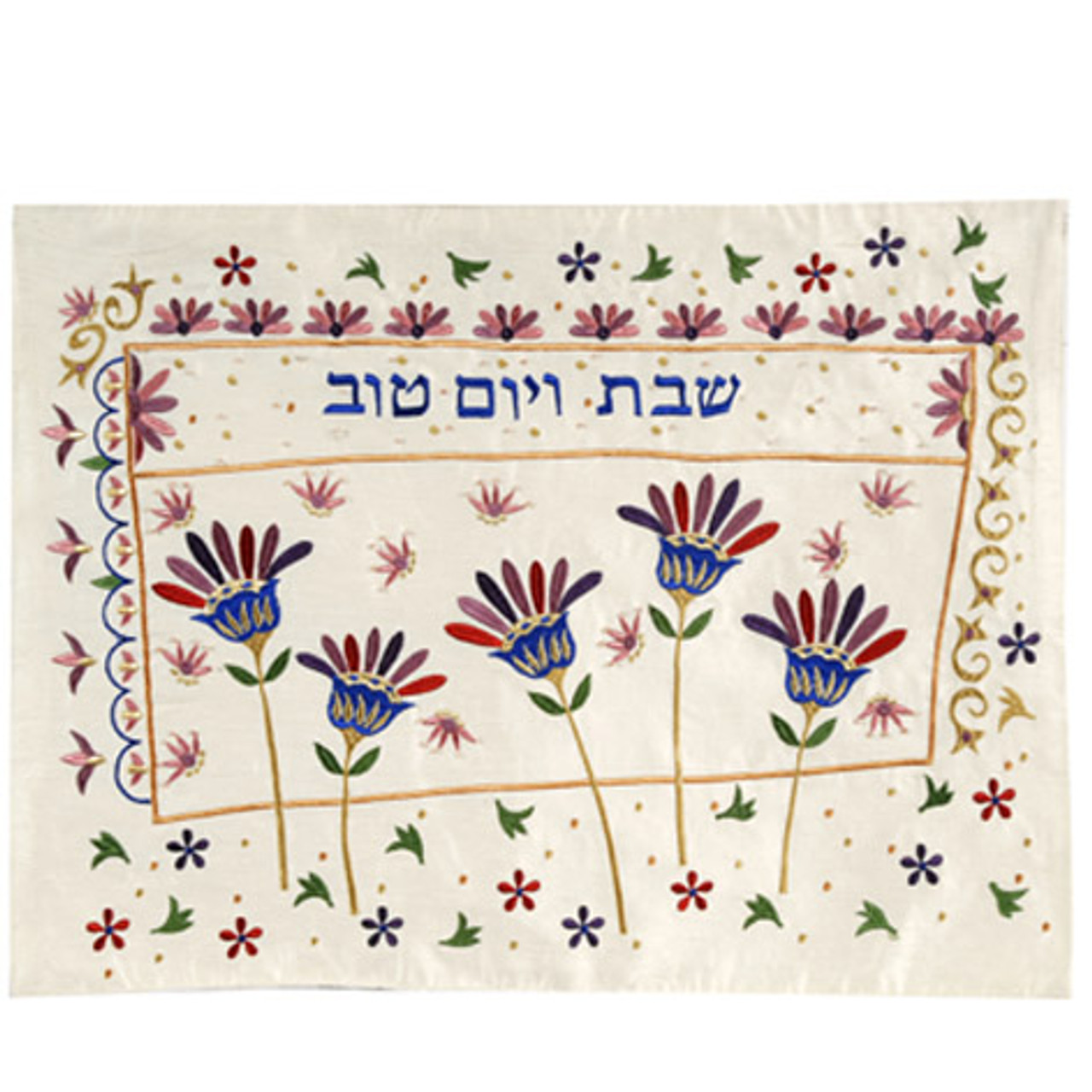 Maroon Flower Design Challah Cover