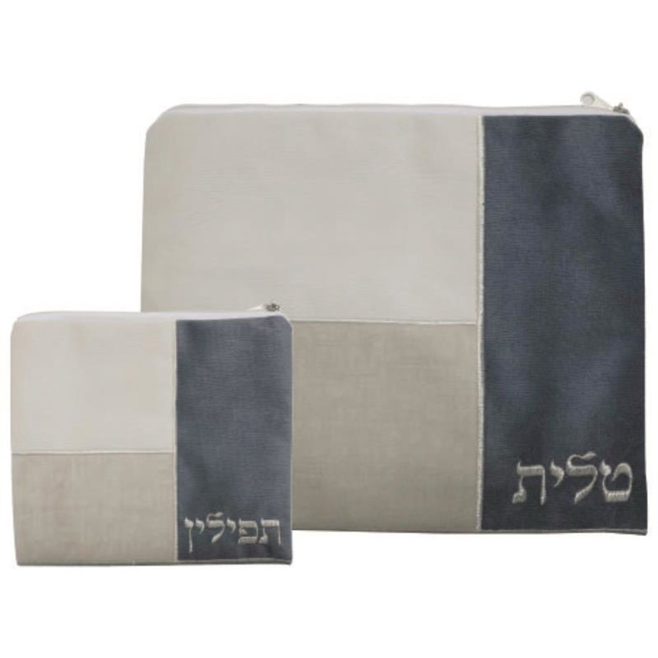 Beige, Tan & Gray Cloth Tallit Bag