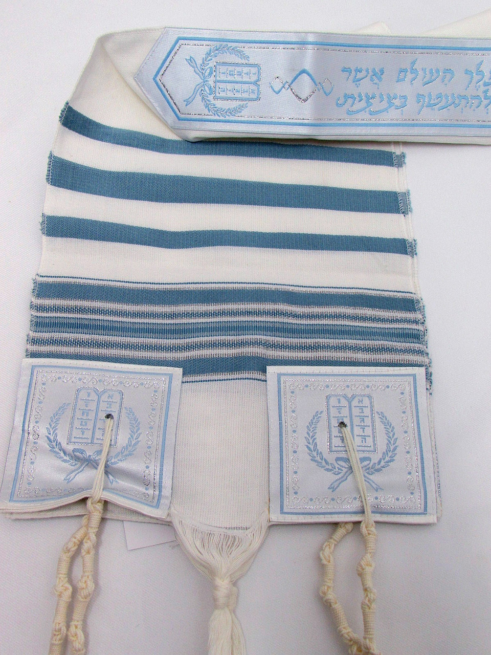 Size 8 Hevron Cotton Blue & Silver Striped Children's Tallit