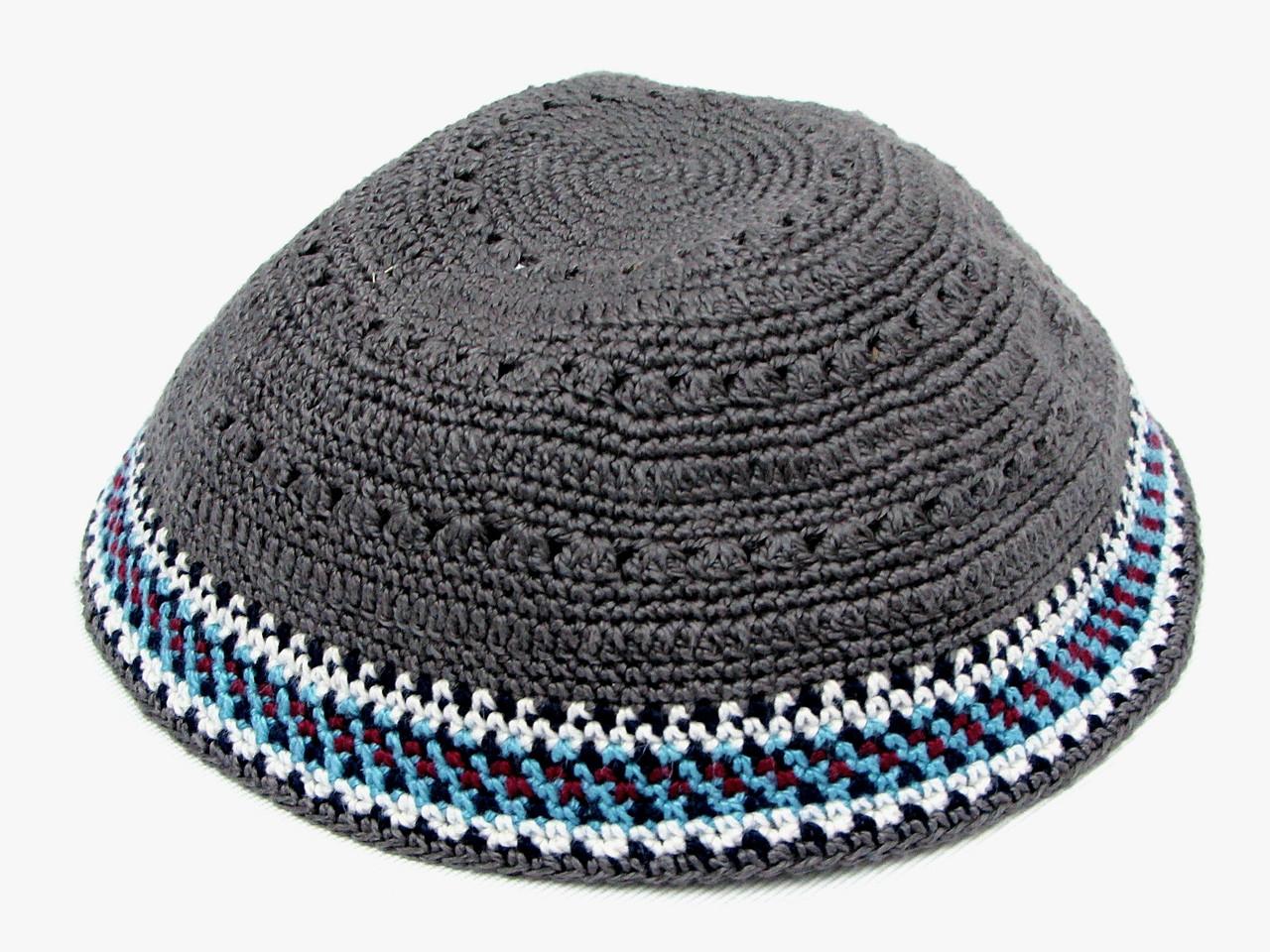 Gray DMC Knitted Kippah with Burgundy, White & Blue