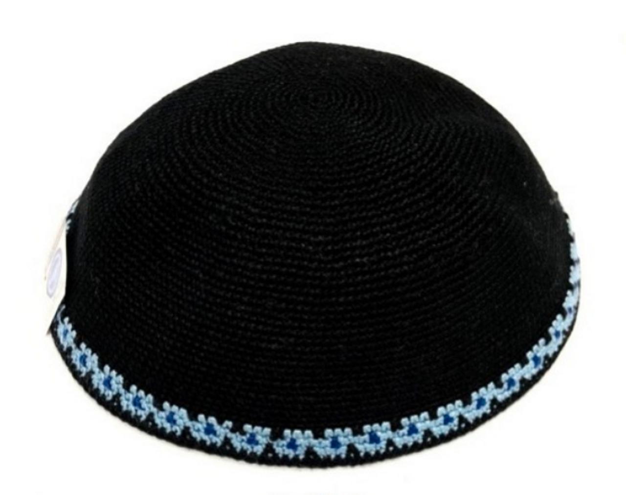 Black DMC Knitted Kippah with Blue Trim