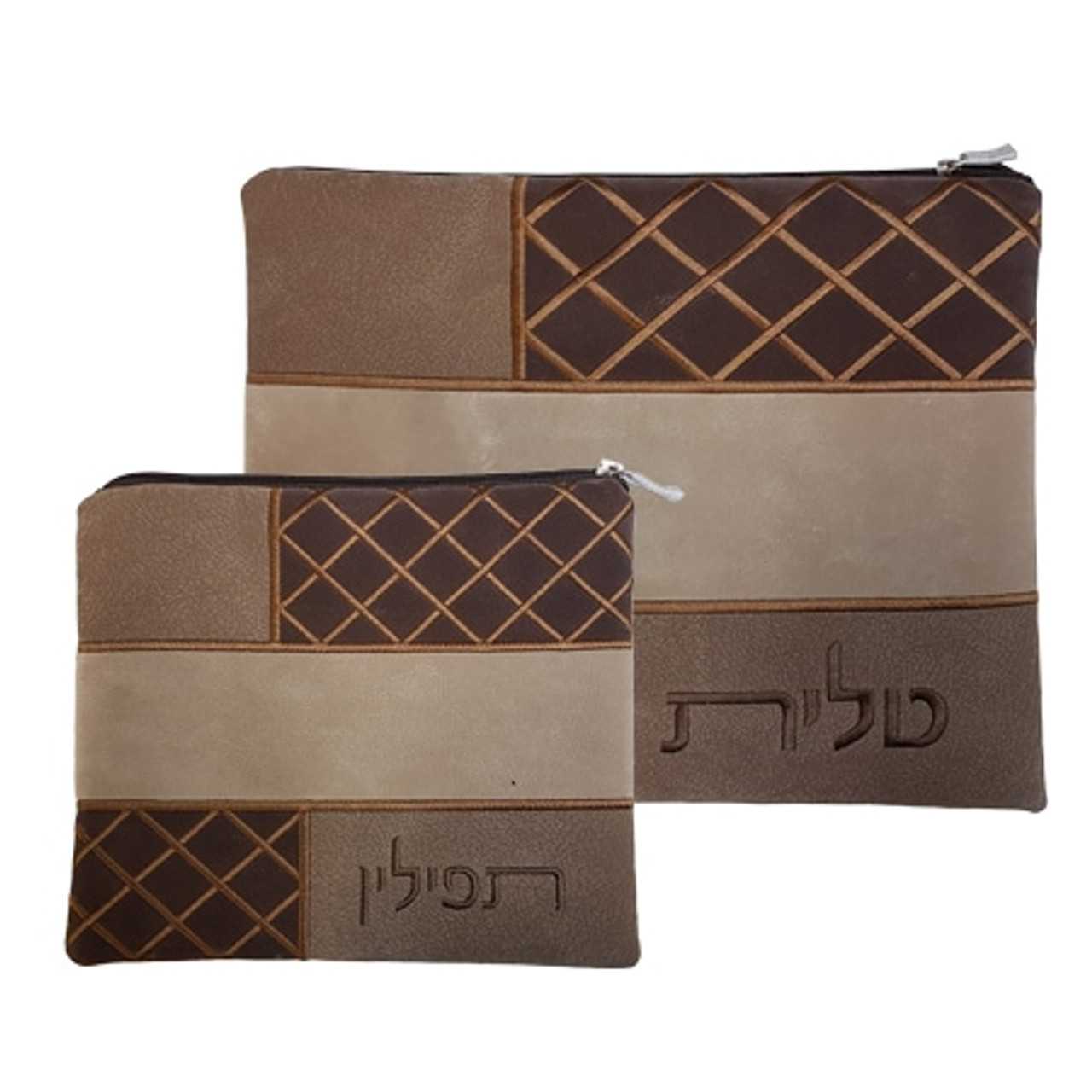 Brown Crisscross Pattern Faux Impala Tallit Bag
