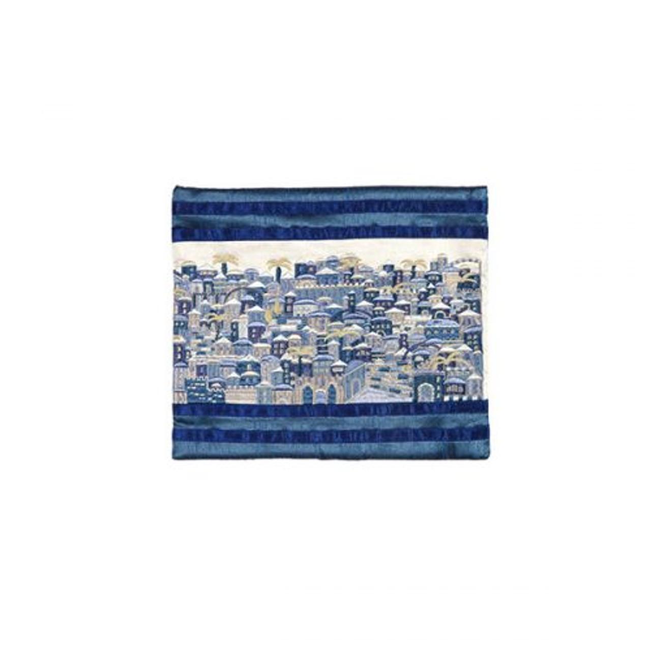 Raw Silk Jerusalem in Blue Tefillin Bag