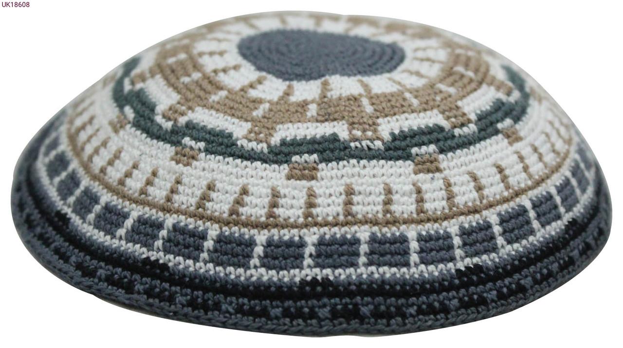 Gray, Brown & Green DMC Knitted Kippah