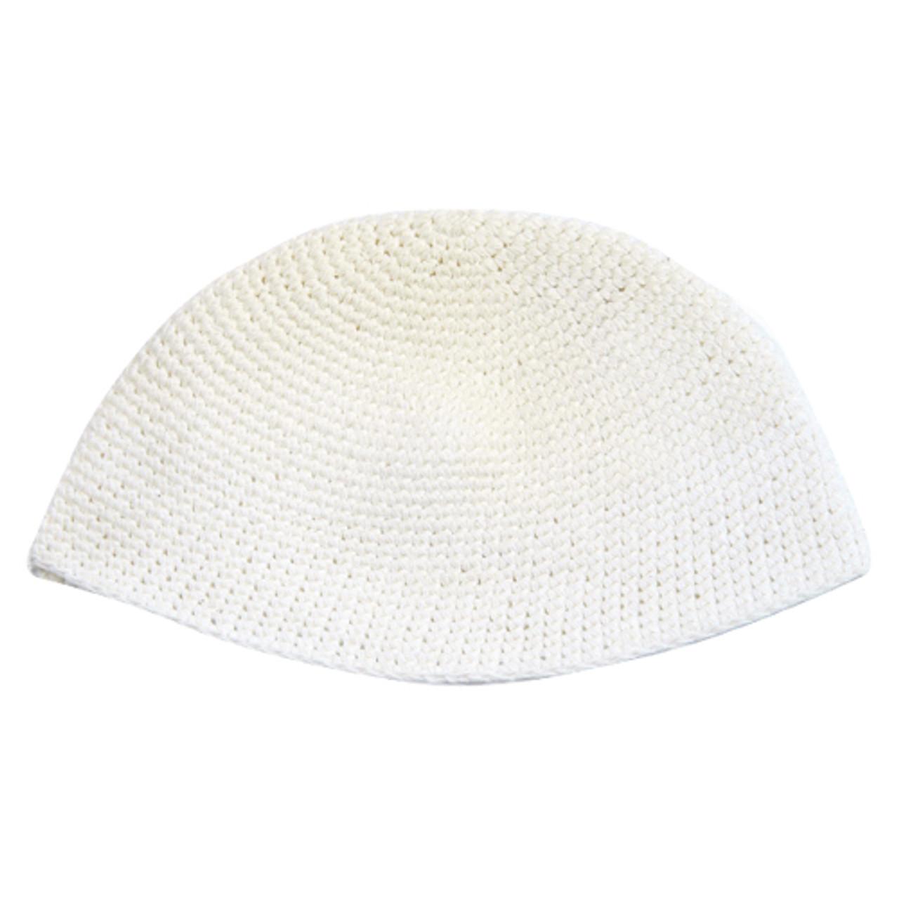 Extra Large White Knitted Kippah