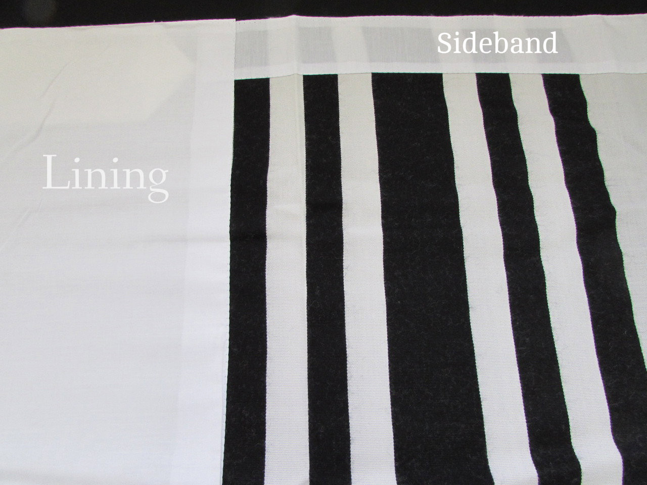 Sidebands made of matching fabric (not standard satin)