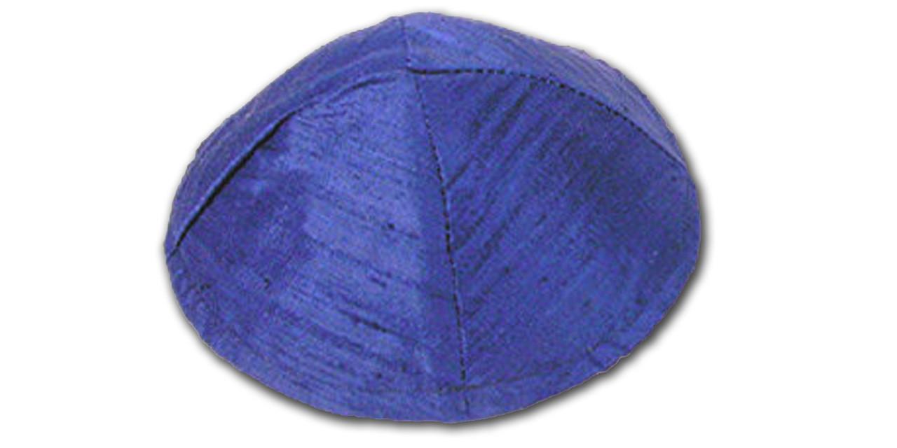 Royal Blue Raw Silk Kippah