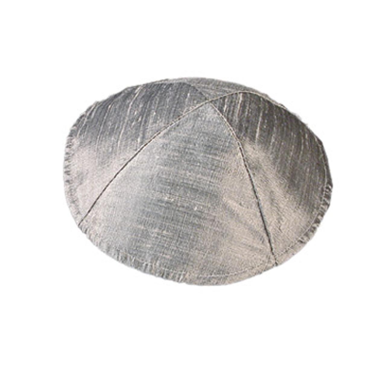 Matching Kippah - Yair Emanuel raw silk silver kippah