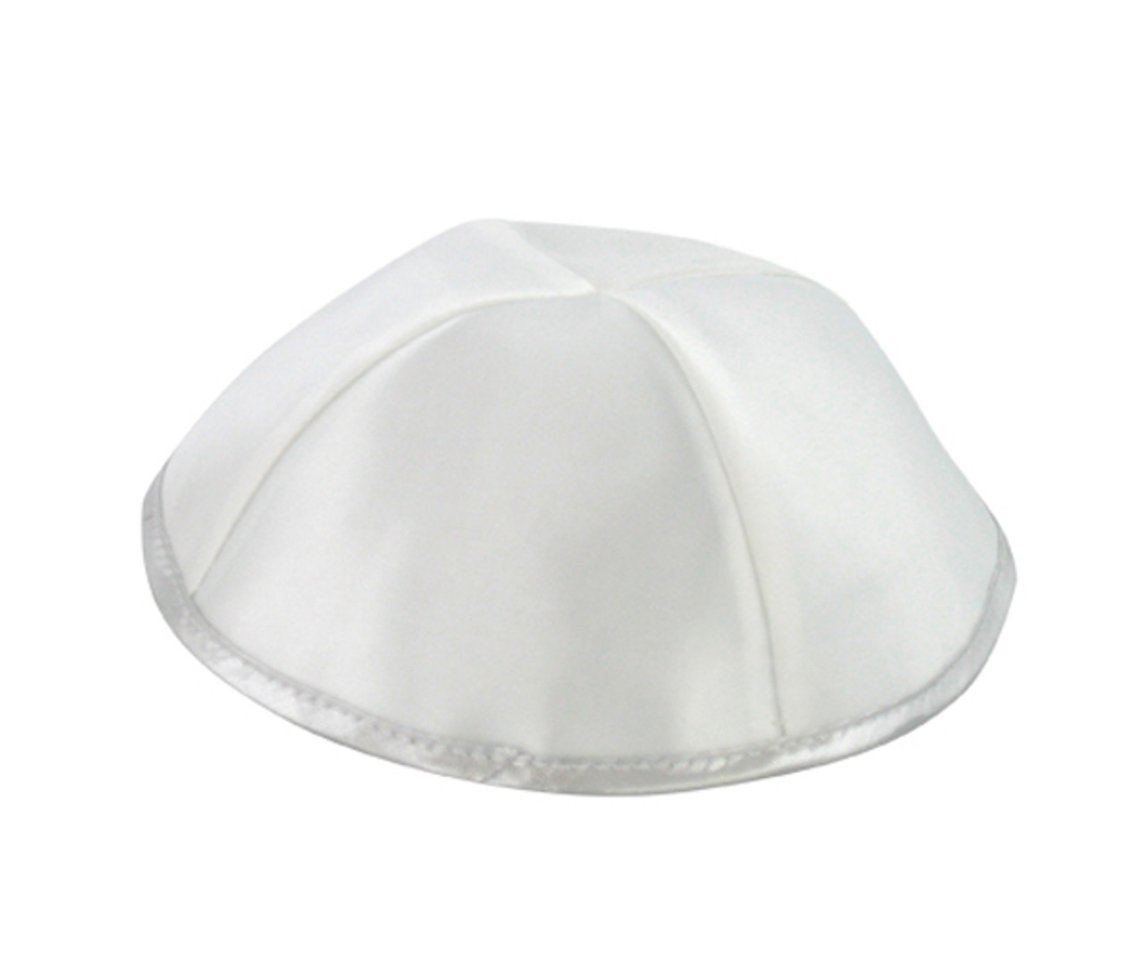 White Satin Kippah with Silver