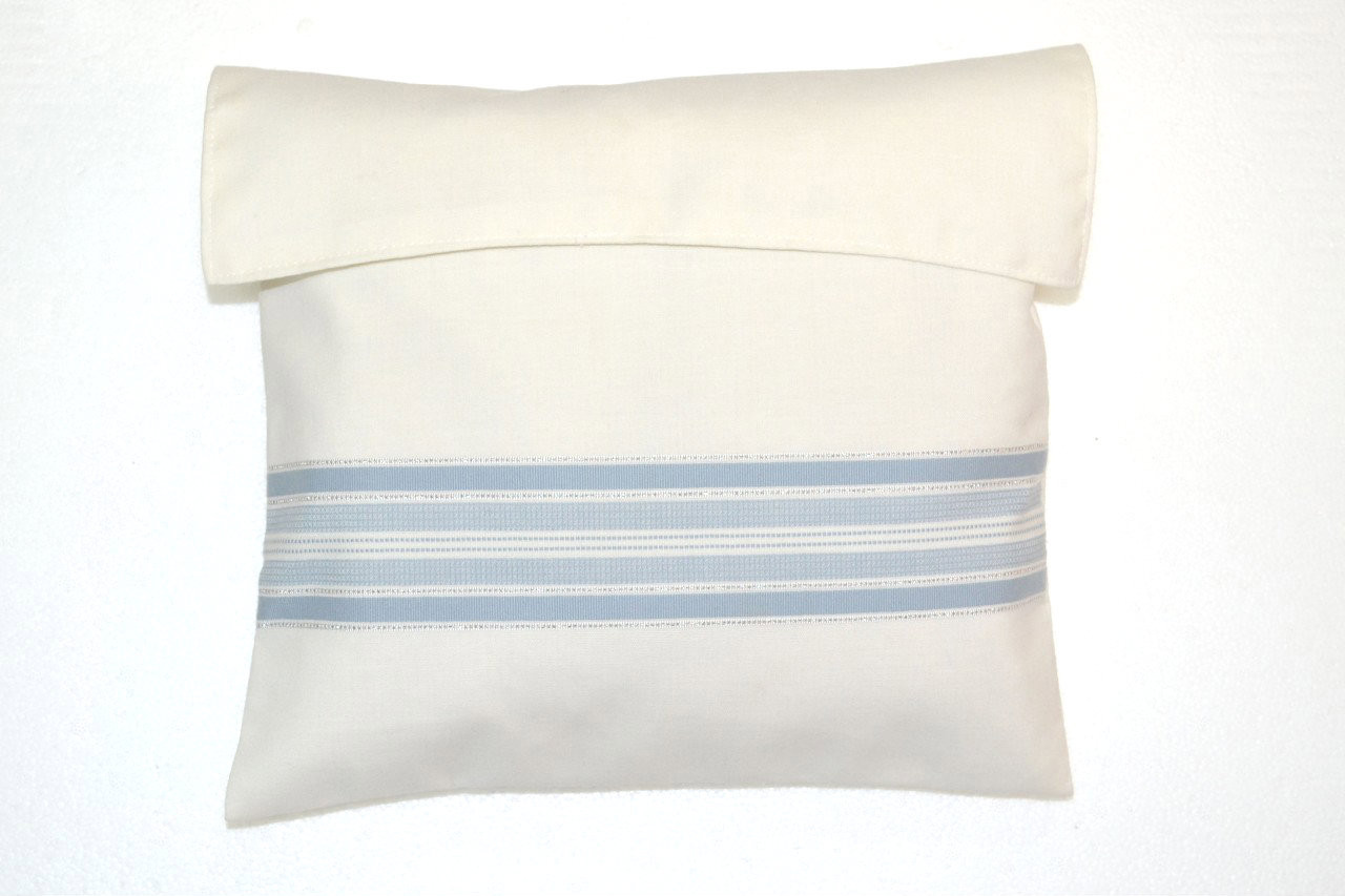 Wool Sky Blue & Silver Striped Tallit Bag