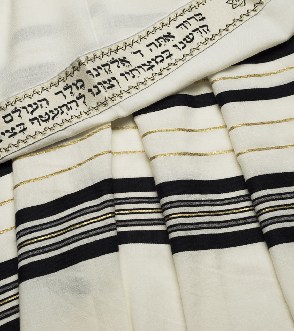 Black-Gold Traditional Wool Tallit