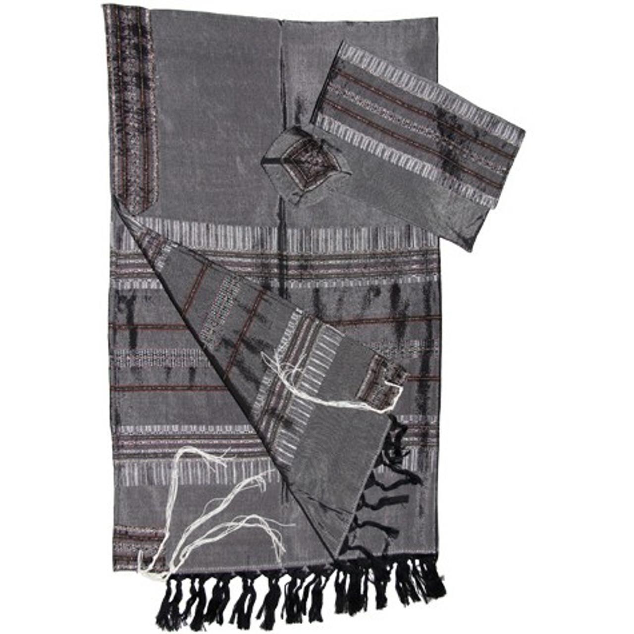 Gabrieli Gray, Silver & Burgundy Silk Tallit