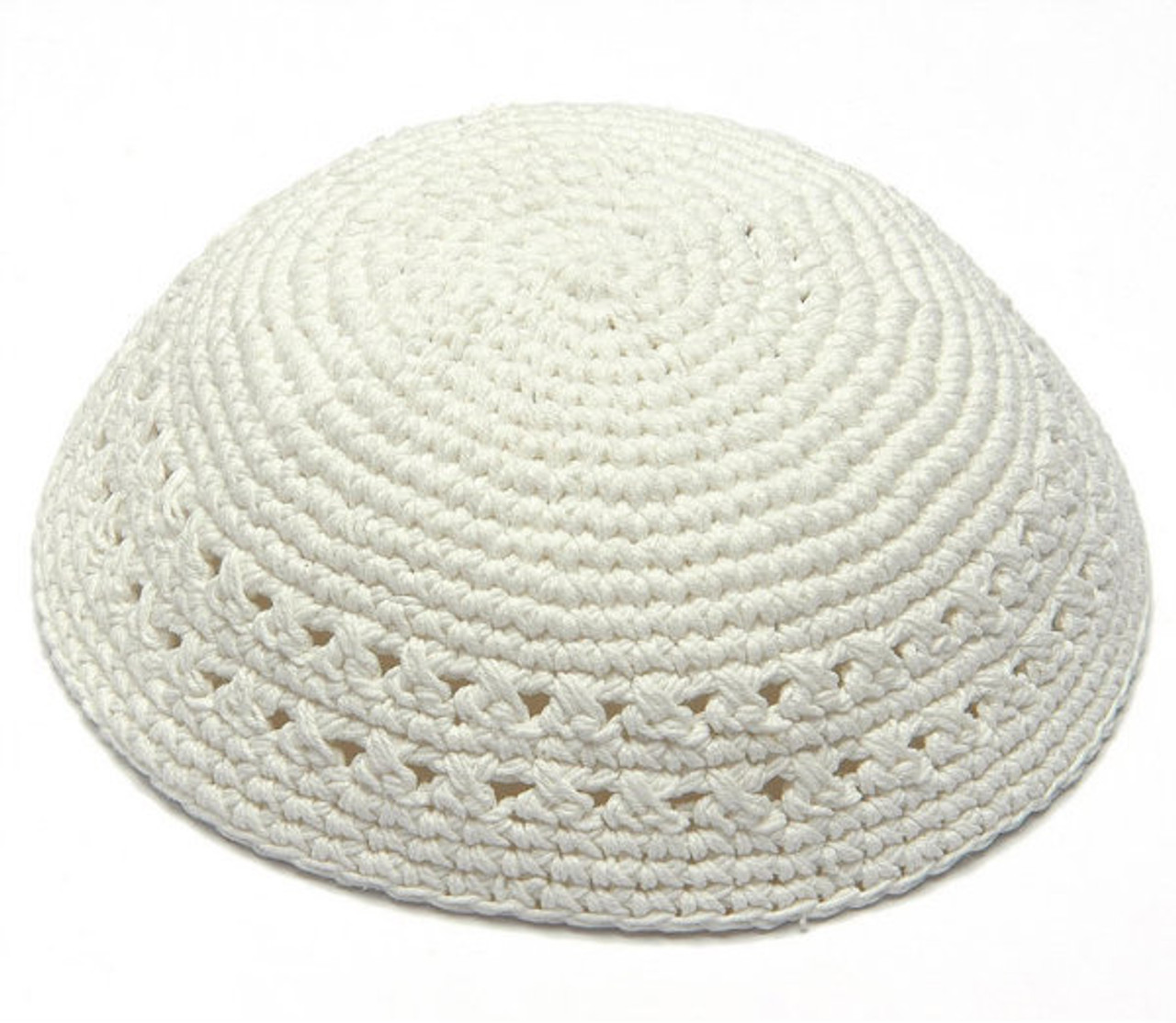 Medium White Knitted Kippah