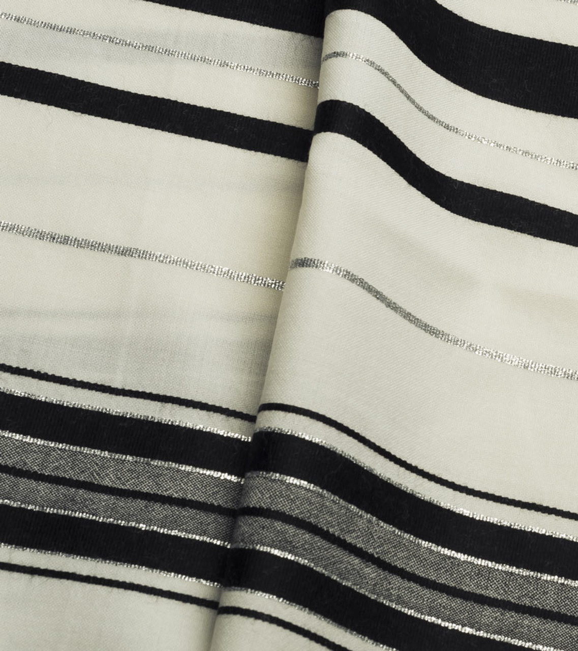 Black-Silver Traditional Wool Tallit