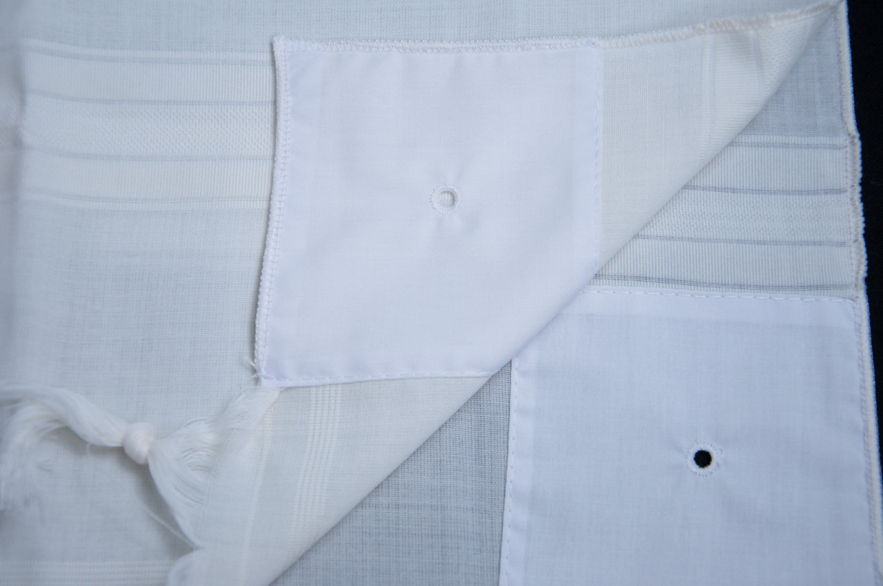 White-Striped Classic Wool Tallit Katan
