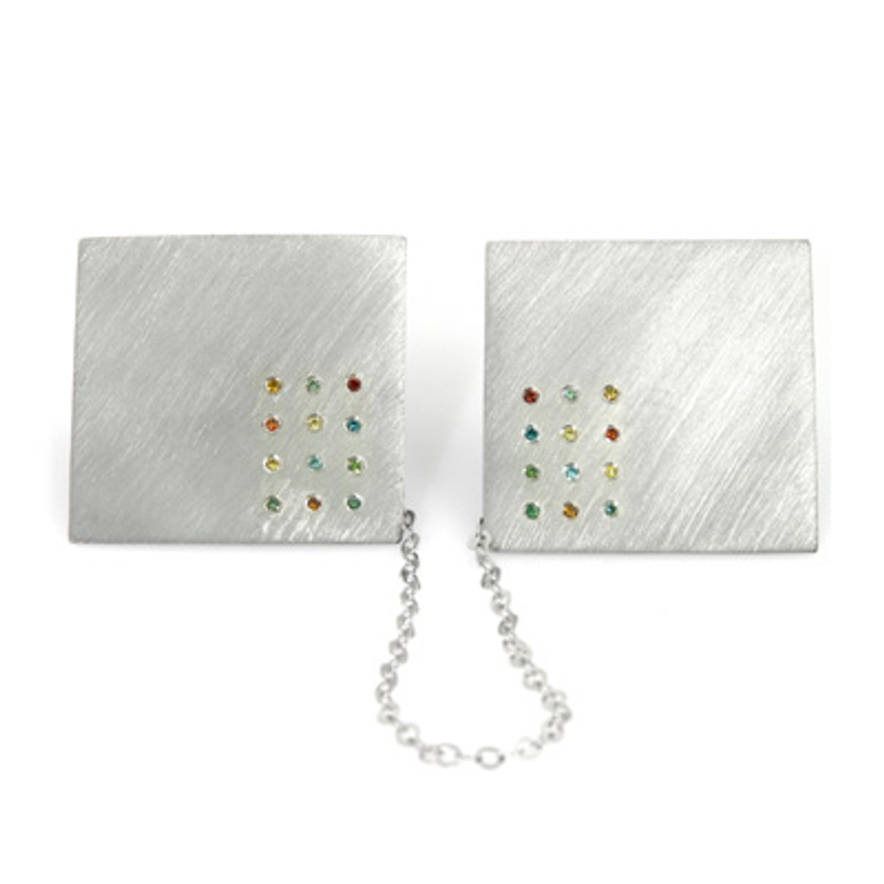 White Gold Choshen Stones Tallit Clips