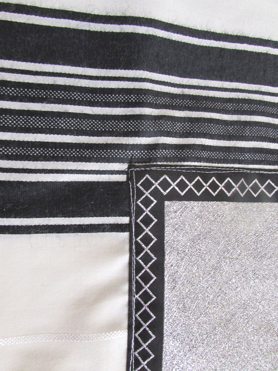 Yemenite Tallit with Black-Silver