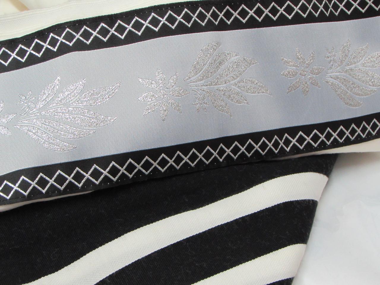 Yemenite Tallit with Black-Silver