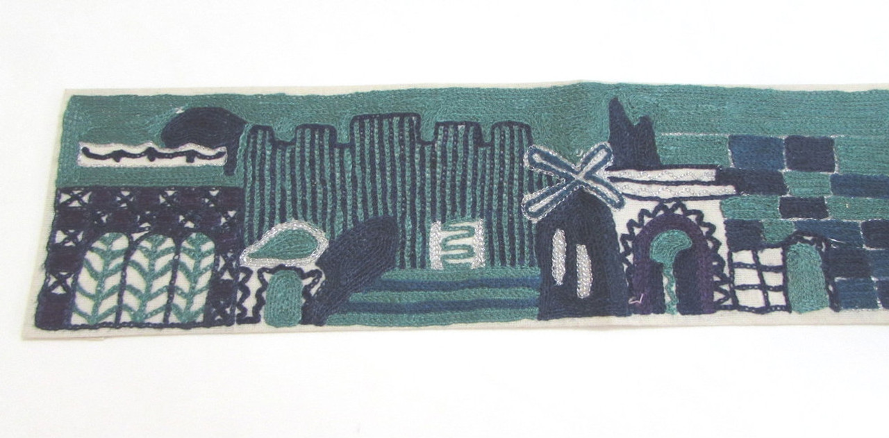 Hand Embroidered Jerusalem Blue Evening Atara