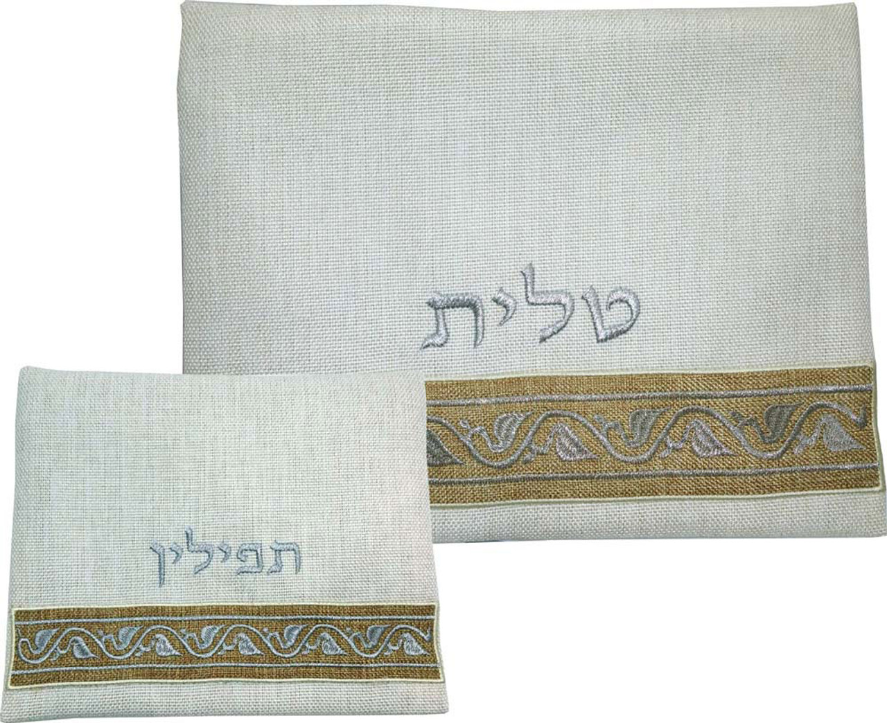 Linen Leaf Pattern Tallit Bag