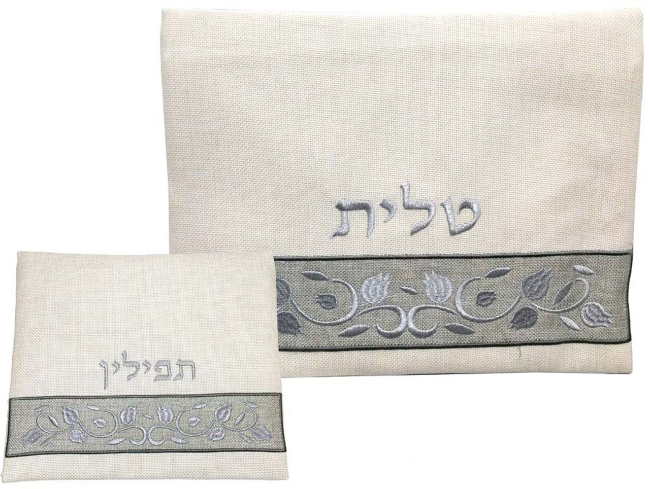 Linen Pomegranate Pattern Tallit Bag