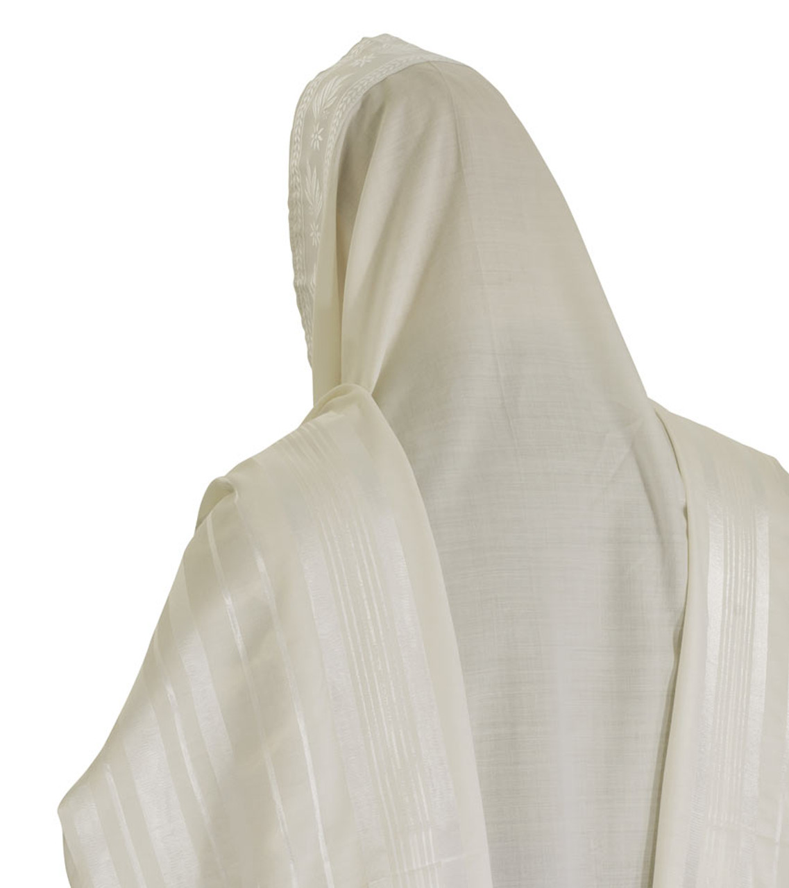 White-Striped Traditional Wool Tallit
