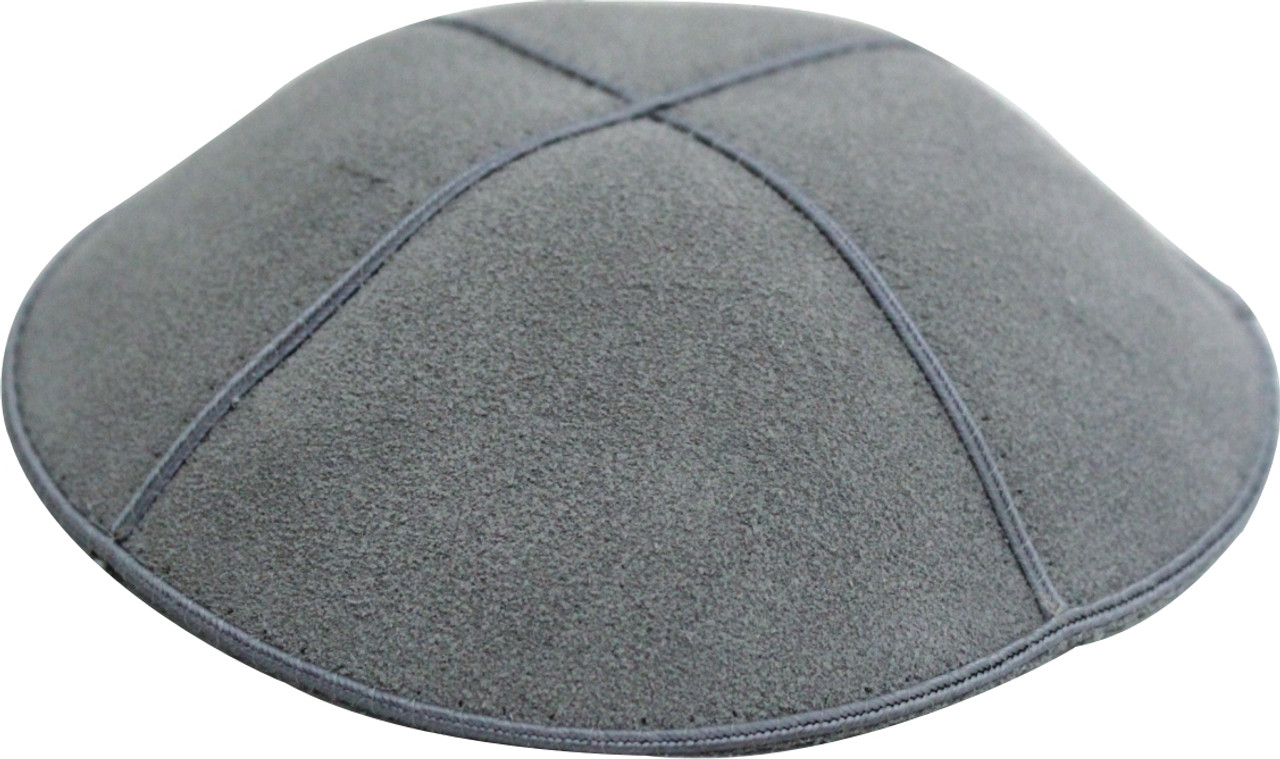 Gray Leather Kippah
