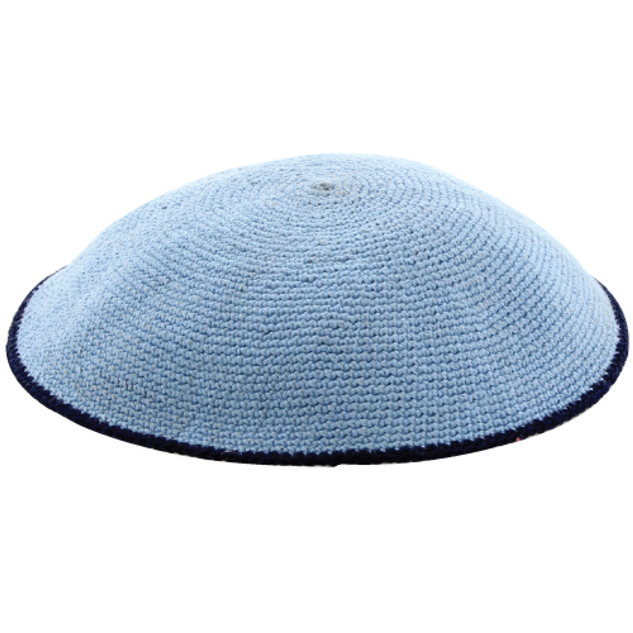 Sky Blue DMC Knitted Kippah with Dark Trim