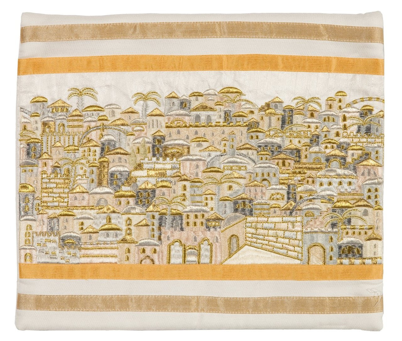 Raw Silk Jerusalem of Gold Tallit Bag