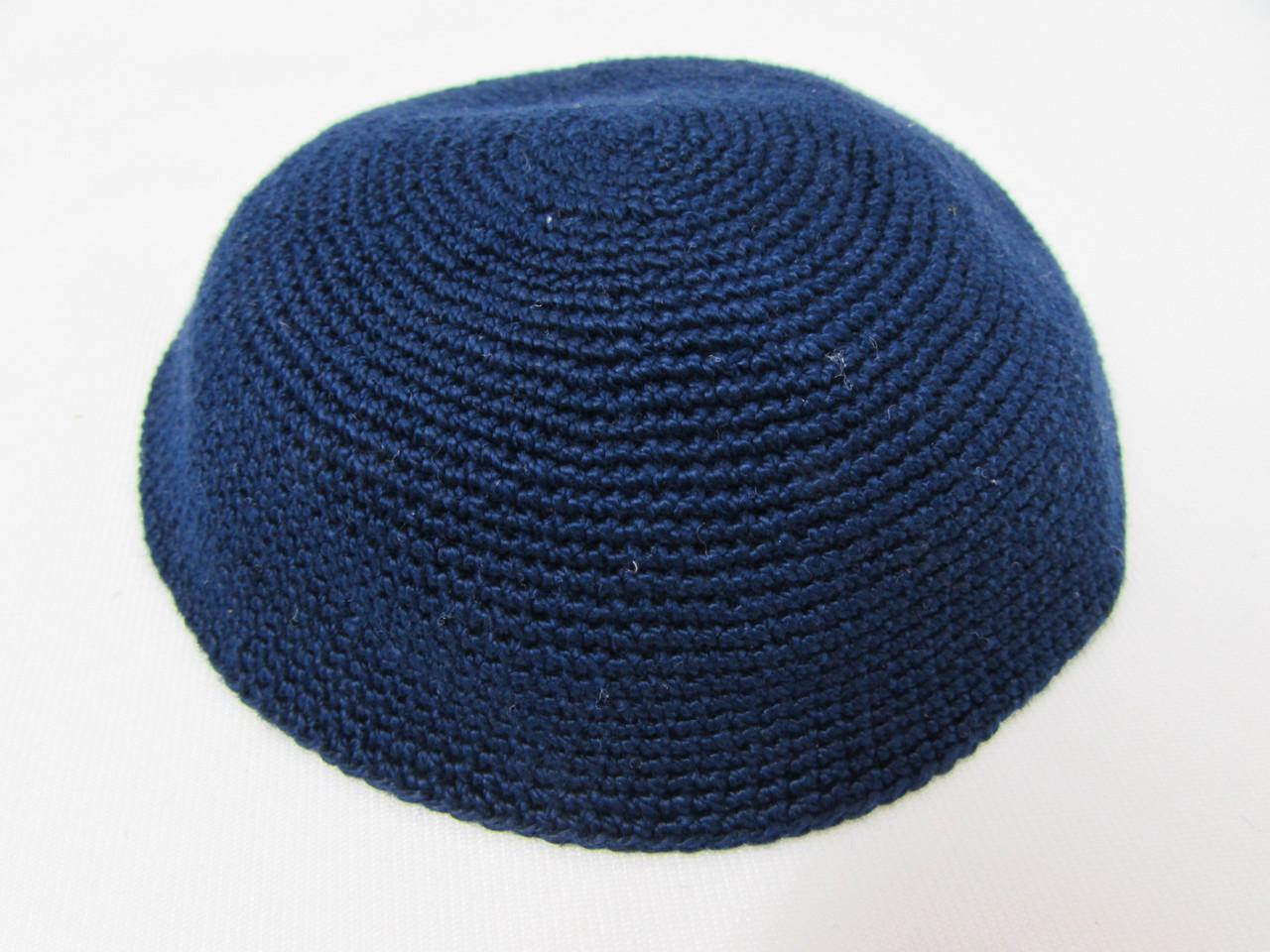 Navy Blue DMC Knitted Kippah