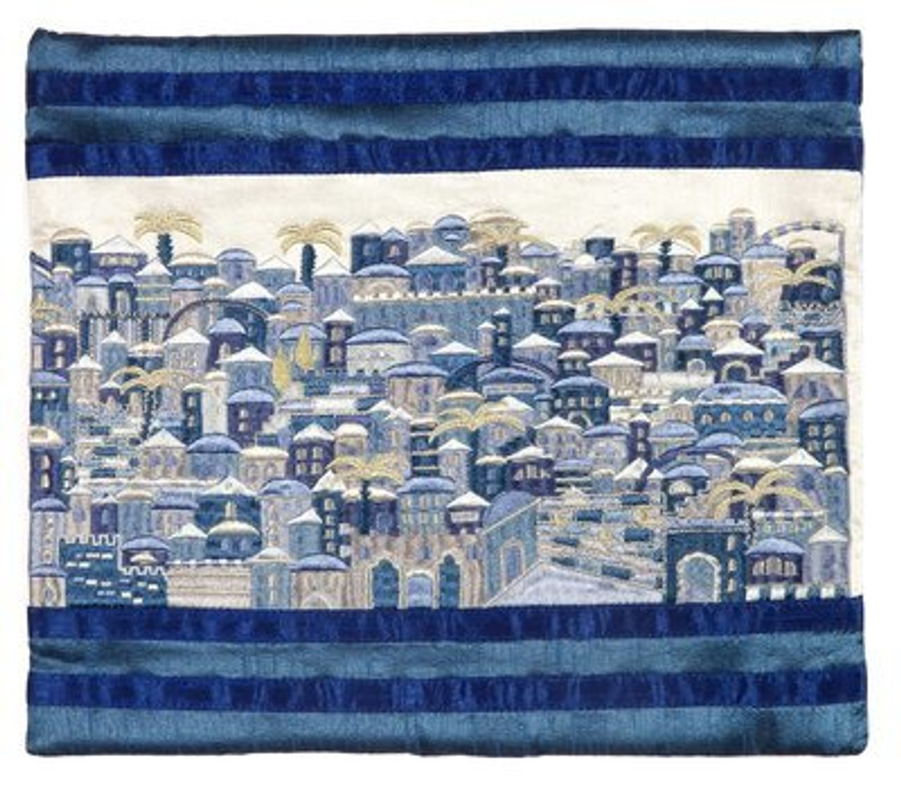 Raw Silk Jerusalem in Blue Tallit Bag