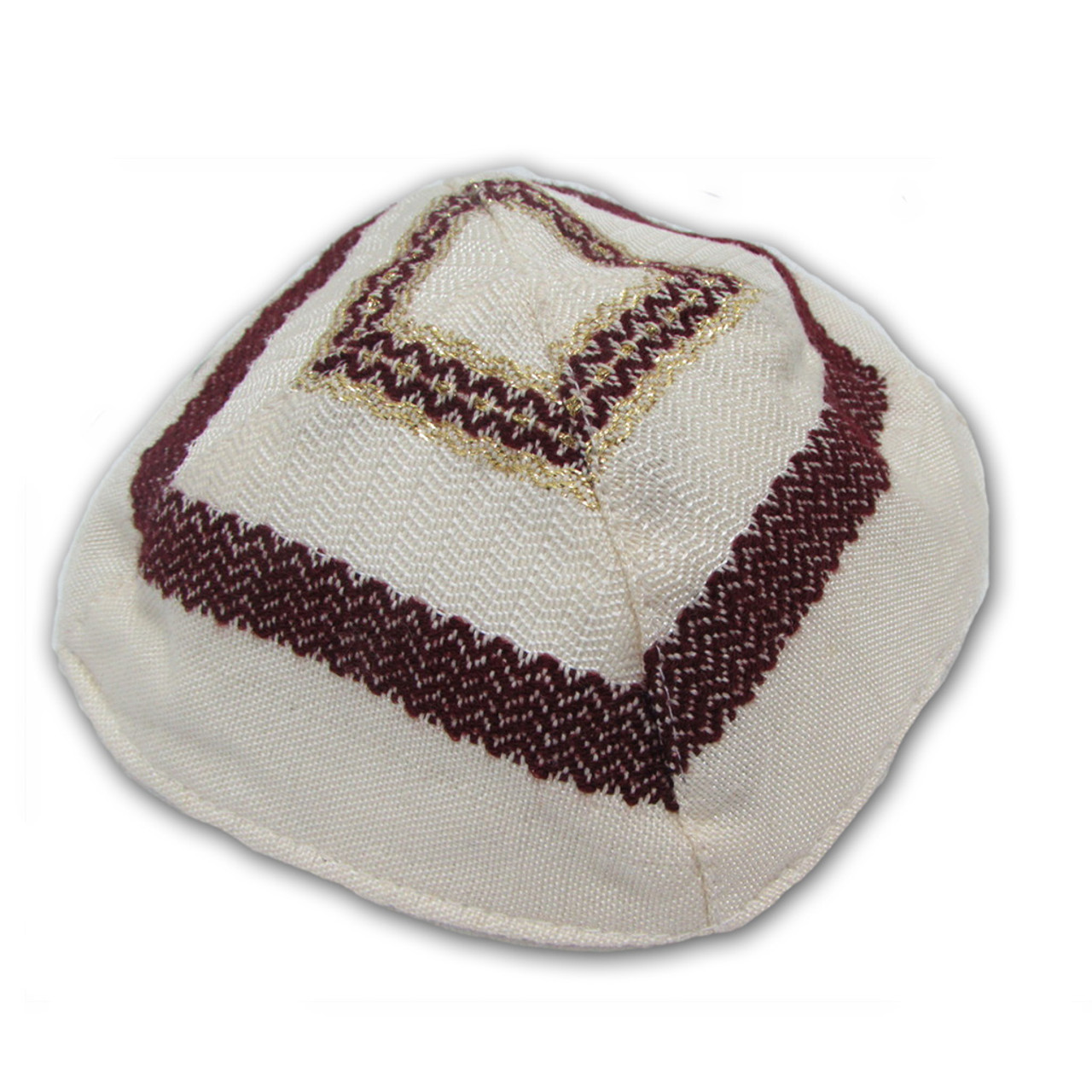 Cotton Kippah - Cream with Maroon & Gold