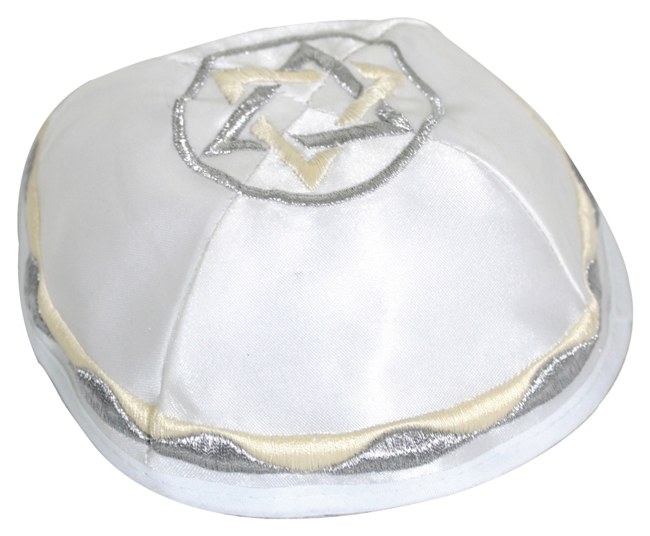 Satin Kippah with Silver & Beige Magen David