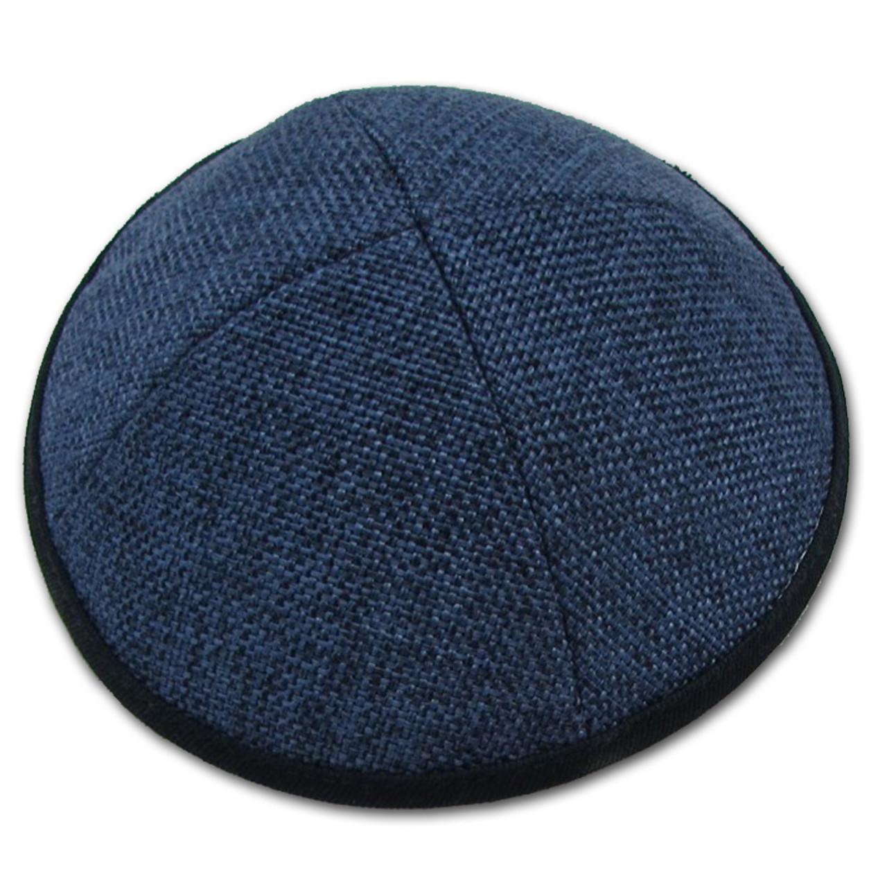 Blue Burlap Kippah