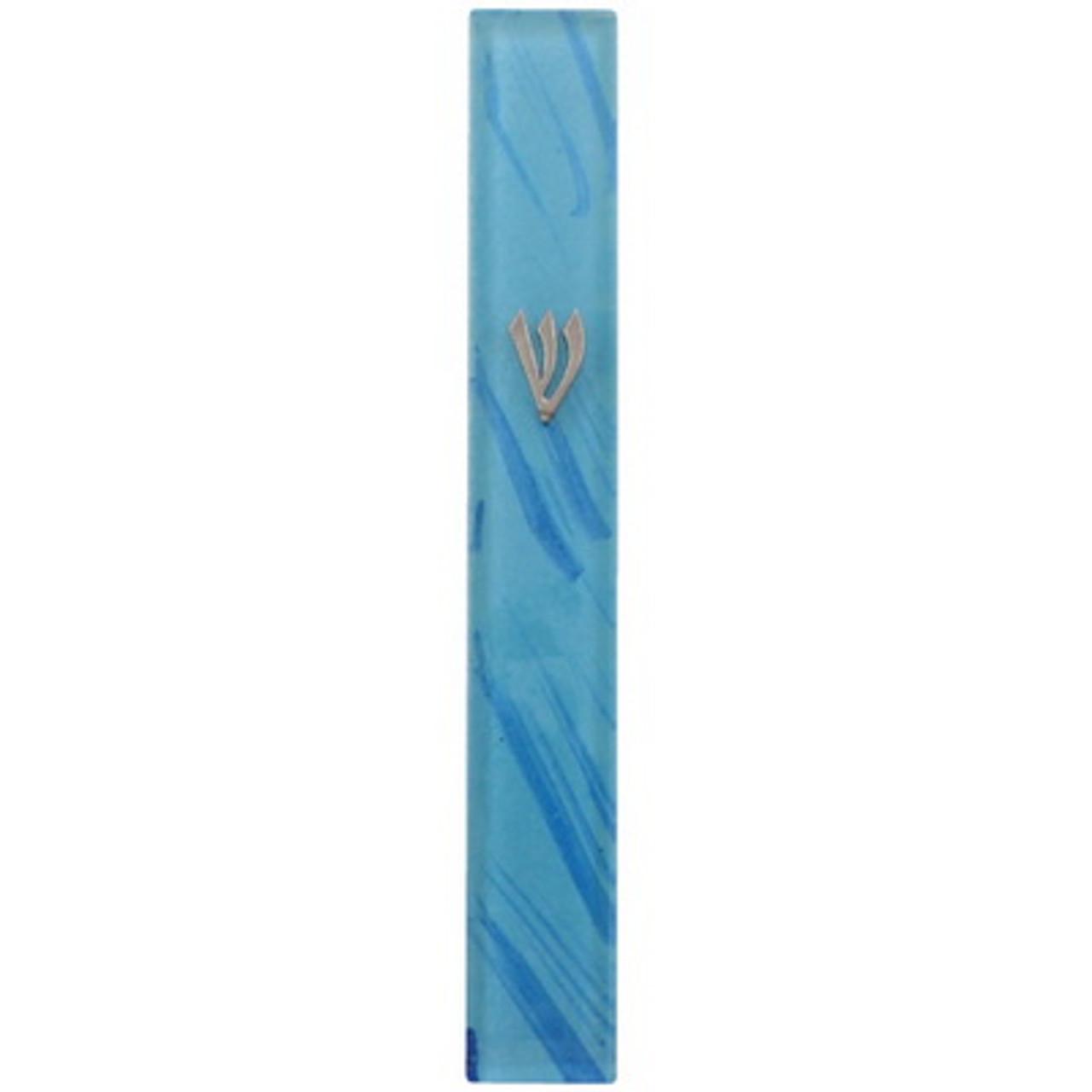 Blue Streak Glass Mezuzah