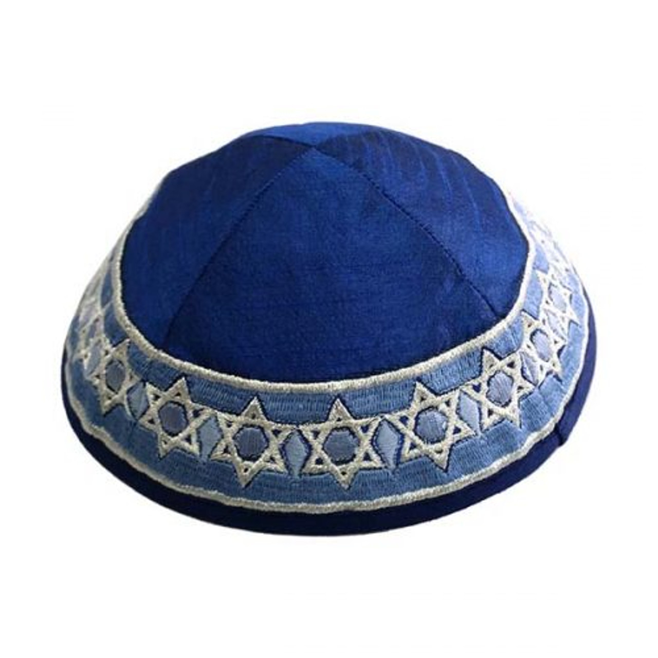 Blue Magen David Embroidered Kippah