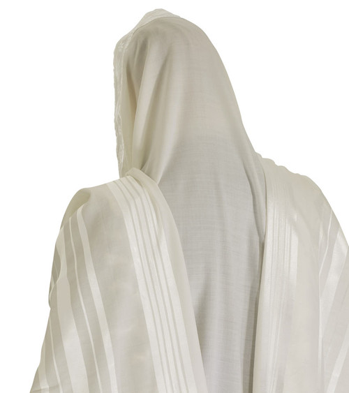White-Striped Prima Wool Tallit