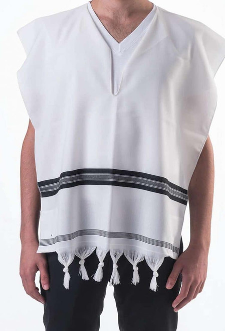 Black-Striped Lightweight Wool Tallit Katan