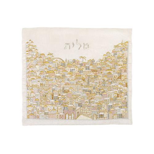 Raw Silk Jerusalem Gold Hillside Tallit Bag