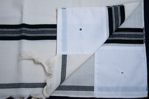 Black-Striped Wool Tallit Katan