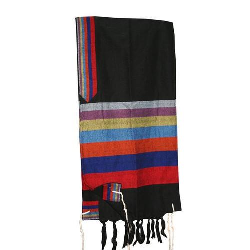Black Tallit with Rainbow Stripes