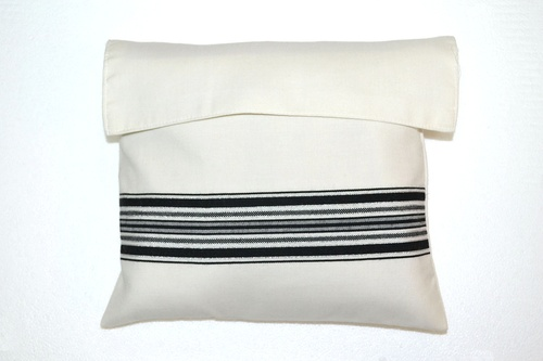 Black-Silver Striped Wool Tallit Bag