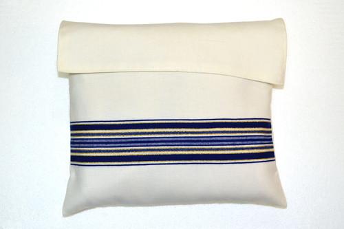 Blue-Gold Striped Wool Tallit Bag