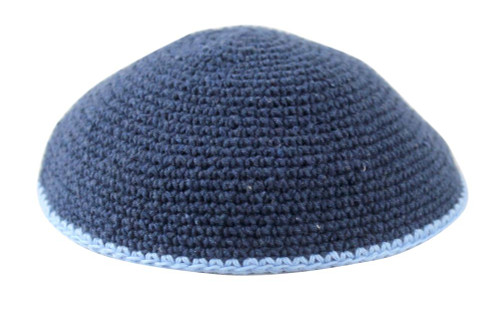 Blue DMC Knitted Kippah with Light Blue Trim
