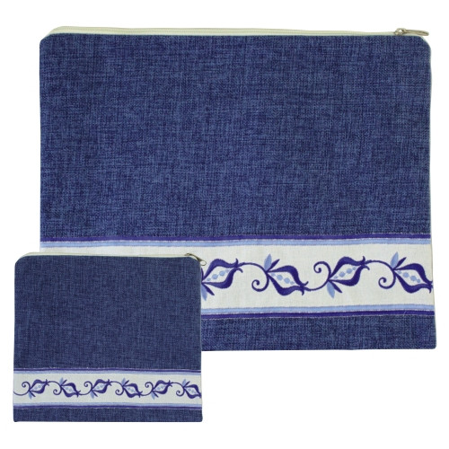 Denim Blue Linen Tallit Bag with embroidered pomegranates