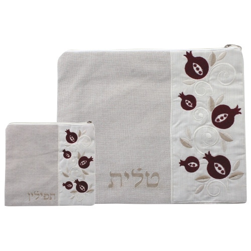 Beige Linen Tallit Bag with embroidered pomegranates