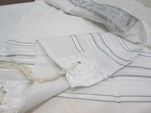 Size 12 Acrylic White and Silver Stripe Children's Tallit